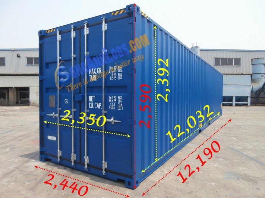kích thước container 40feet